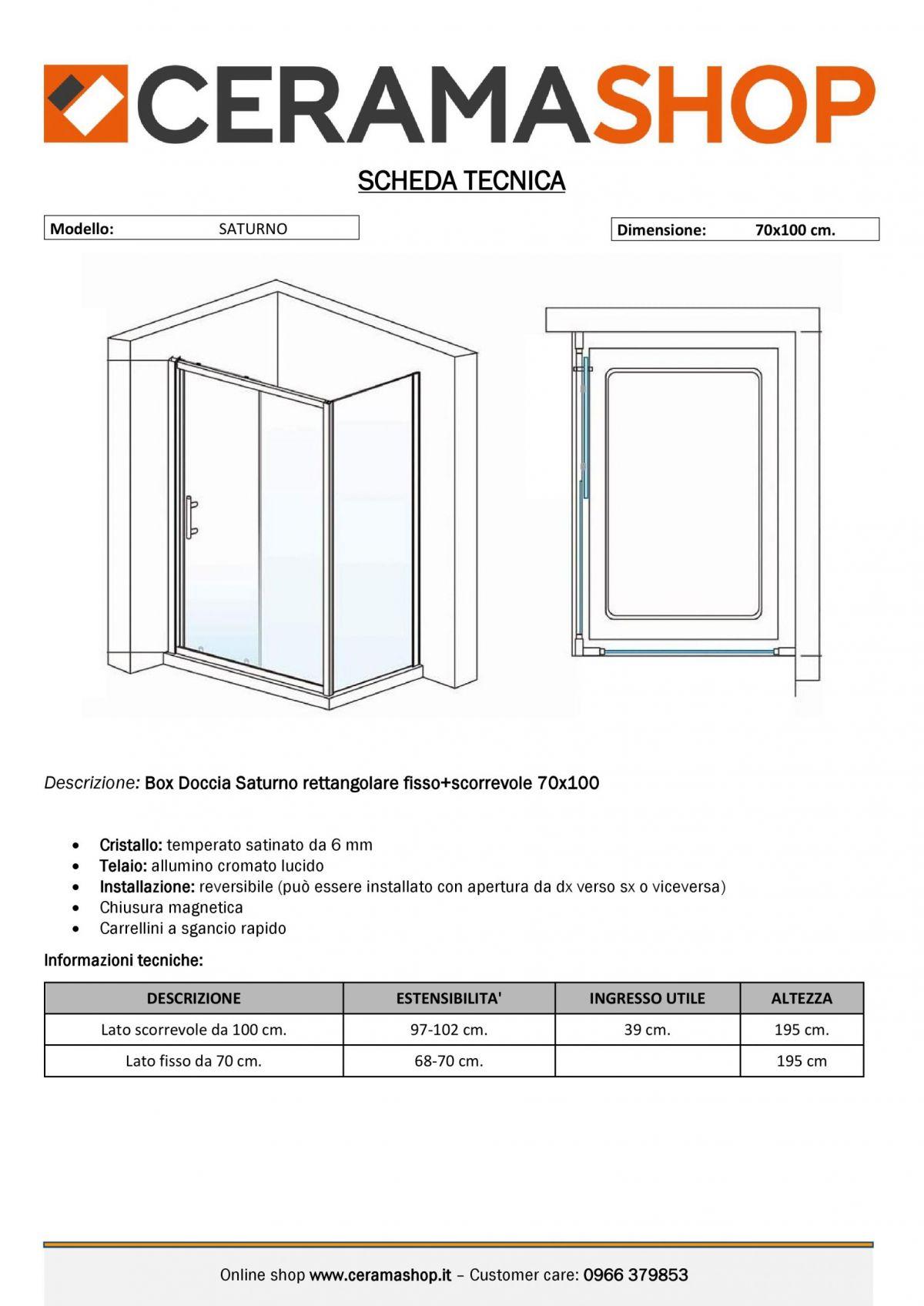 """70x100 000001 scaled Box doccia rettangolare """"Saturno"""" 70×100 cm lato fisso+lato scorrevole cristallo trasparente 6 mm"""