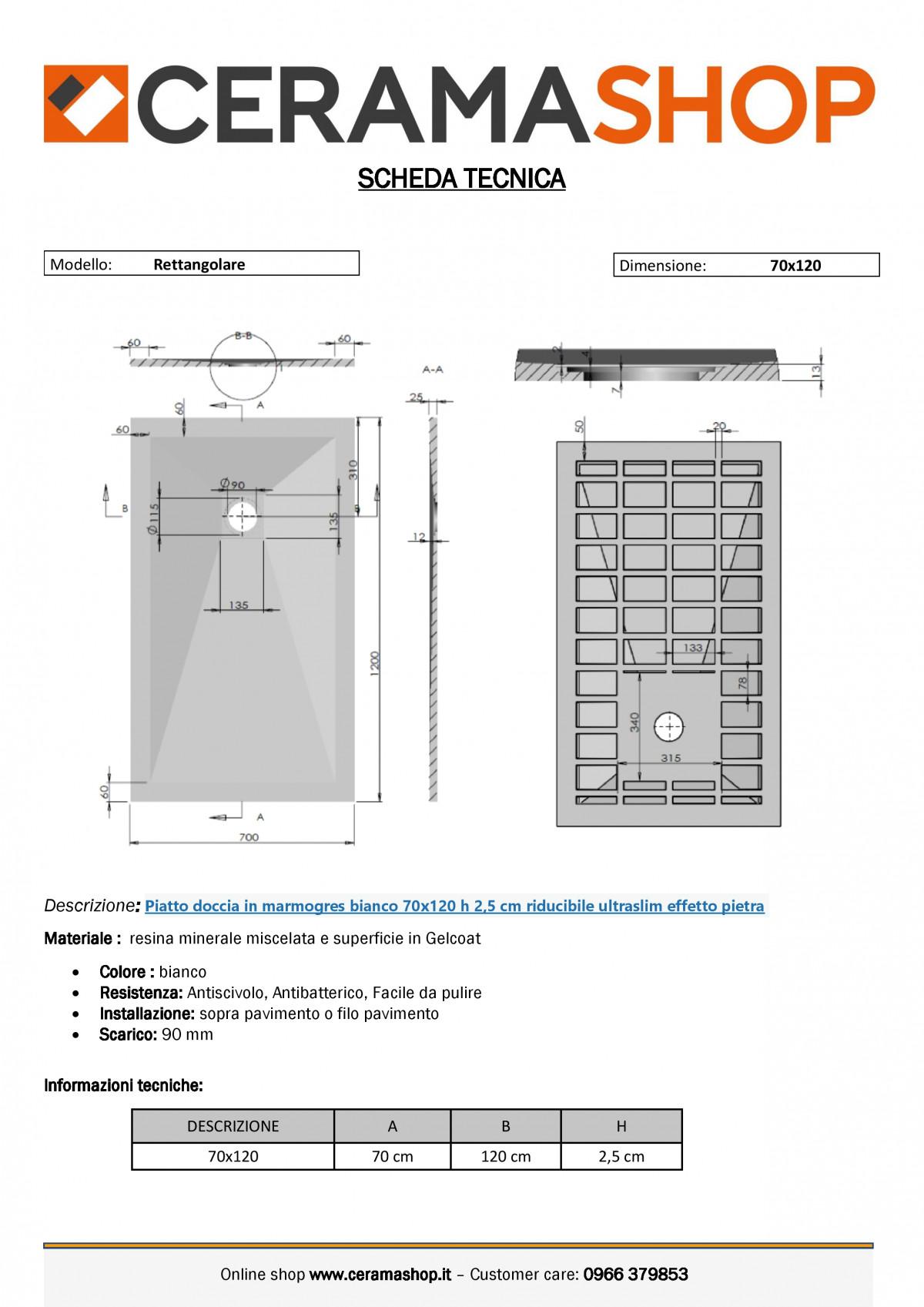 """70x120 bianco 0001 1 scaled Piatto doccia rettangolare """"Dolomia"""" in marmogres bianco 70×120 h 2,5 cm riducibile ultraslim effetto pietra"""