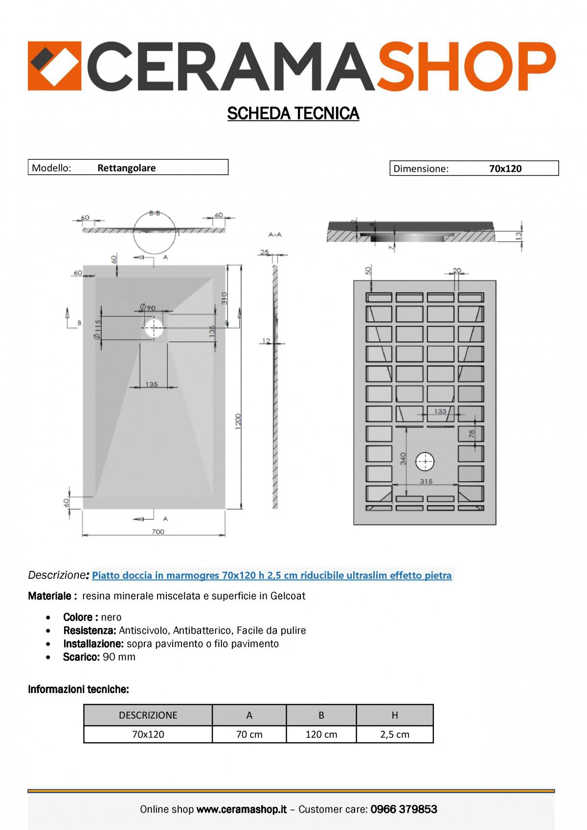 """70x120 nerof 0001 1 scaled Piatto doccia rettangolare """"Dolomia"""" in marmogres nero 70×120 h 2,5 cm riducibile ultraslim effetto pietra"""