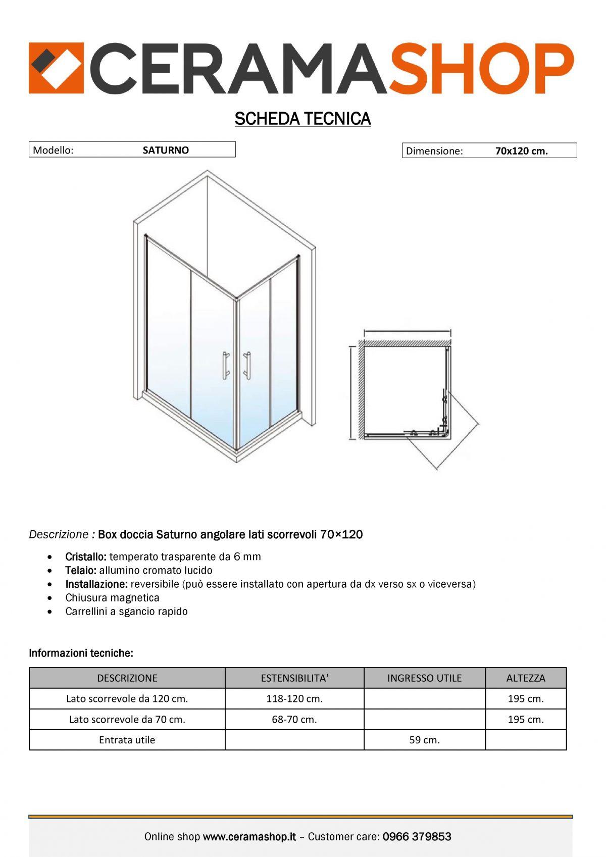 """70x120 000001 1 scaled Box doccia rettangolare """"Saturno"""" 70×120 cm scorrevole cristallo trasparente 6 mm"""