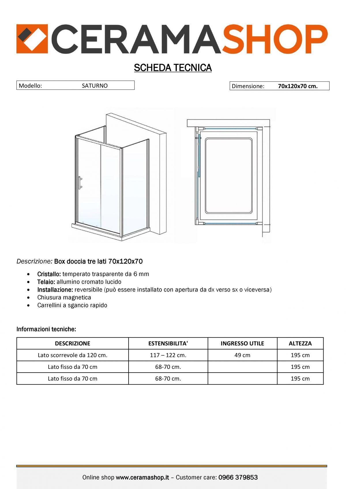 """70x120x70 0000012 scaled Box Cabina doccia tre lati """"Saturno"""" 70x120x70 cm scorrevole cristallo trasparente 6 mm"""