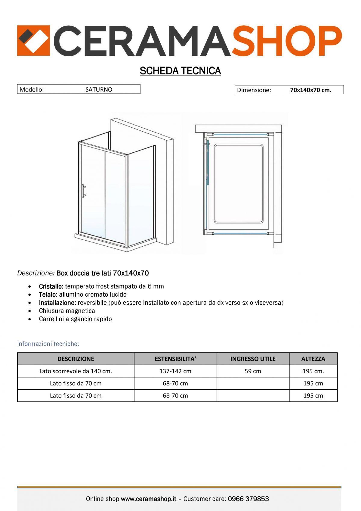 """70x140x70 000001 1 scaled Box Cabina doccia tre lati """"Saturno"""" 70x140x70 cm scorrevole cristallo satinato 6 mm"""