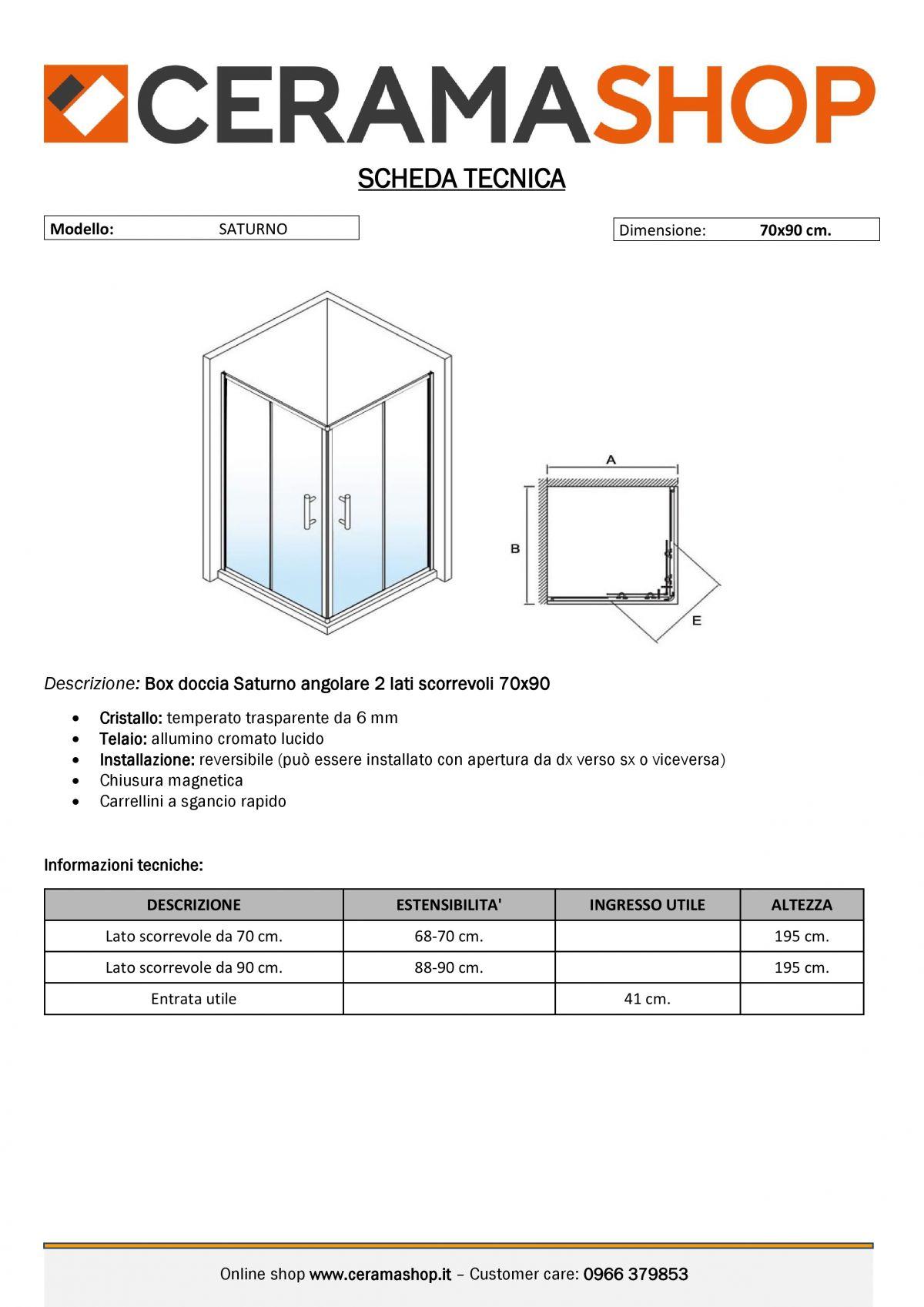 """70x90 000001 scaled Box doccia rettangolare """"Saturno"""" 70×90 cm scorrevole cristallo trasparente 6 mm"""