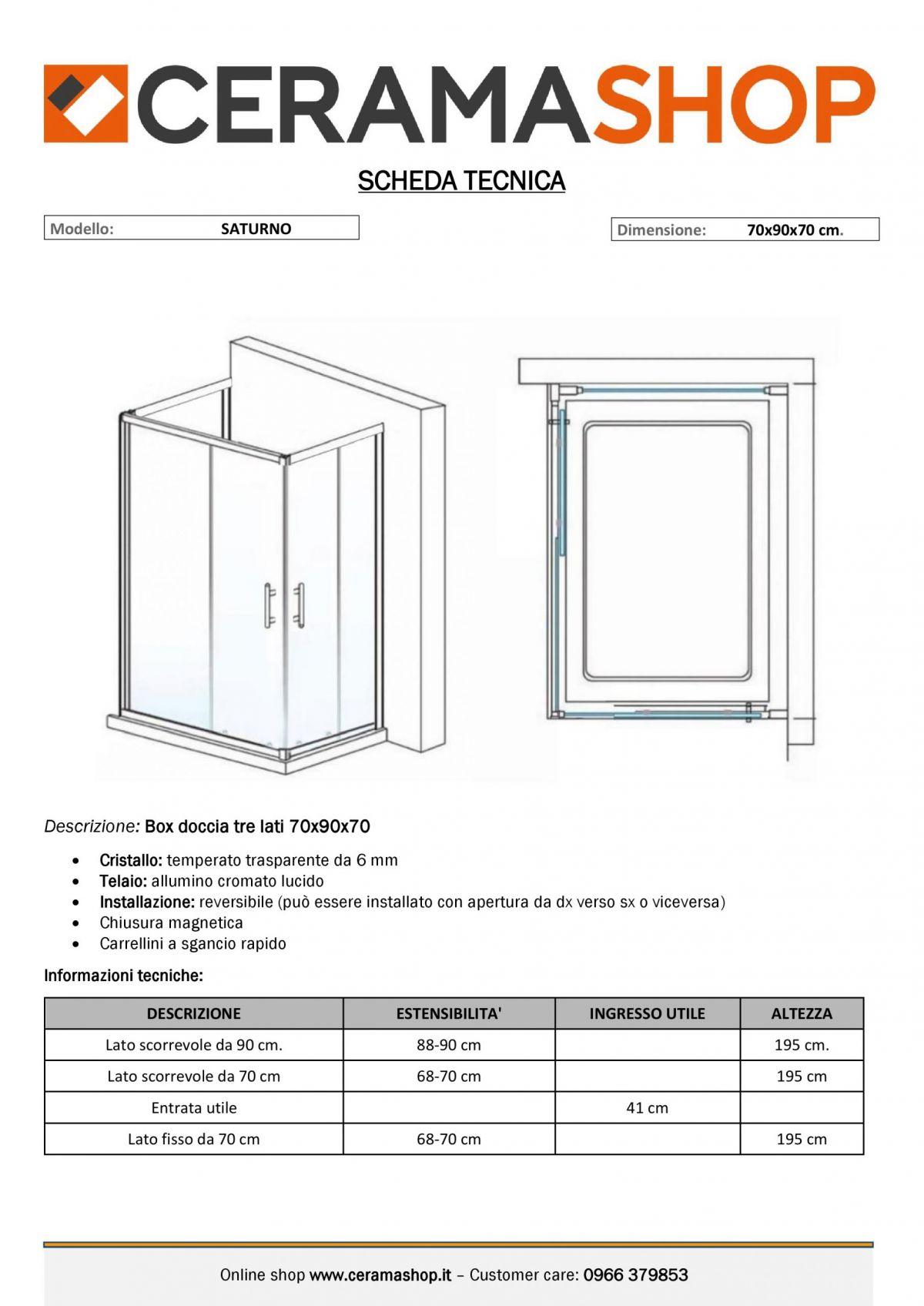 """70x90x70 000001 scaled Box doccia tre lati """"Saturno"""" 70x90x70 cm scorrevole cristallo trasparente 6 mm"""