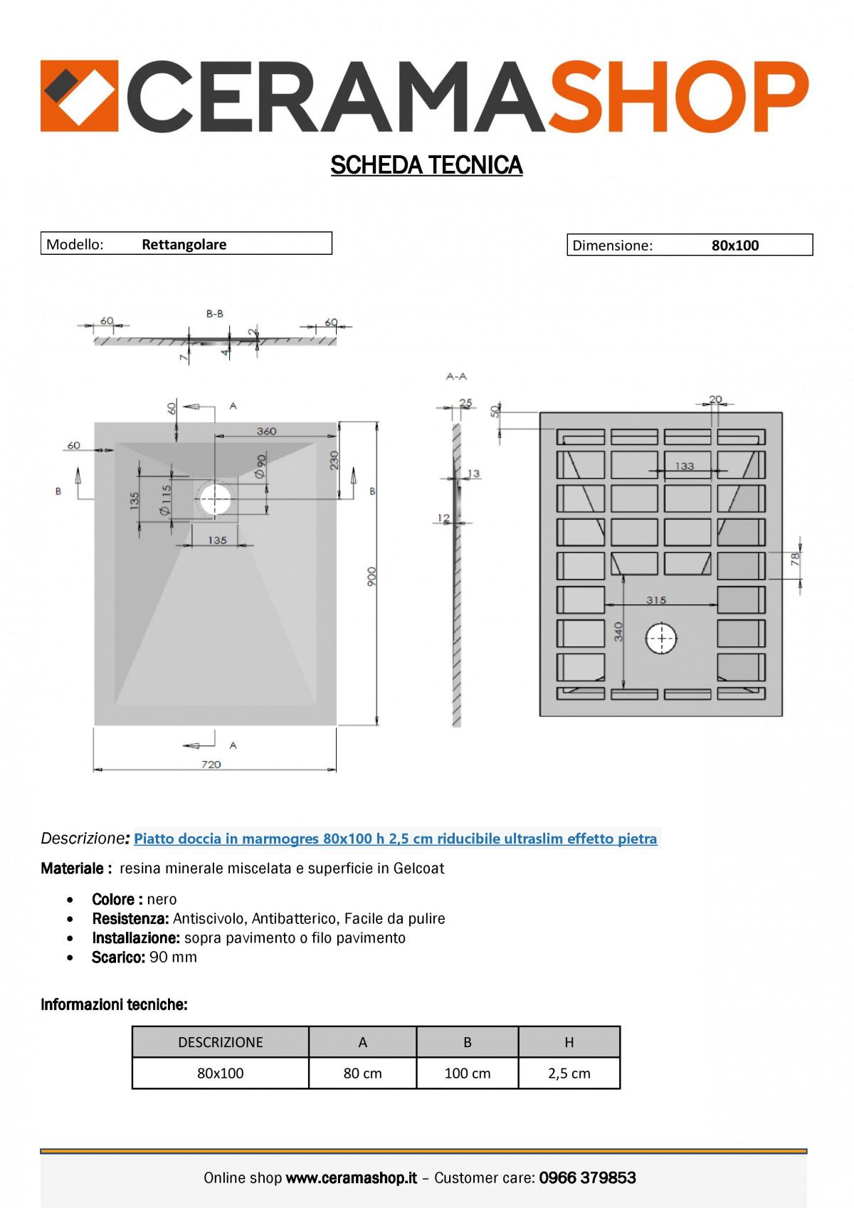 """80x100 nerof 0001 1 scaled Piatto doccia rettangolare """"Dolomia"""" in marmogres nero 80×100 h 2,5 cm riducibile ultraslim effetto pietra"""
