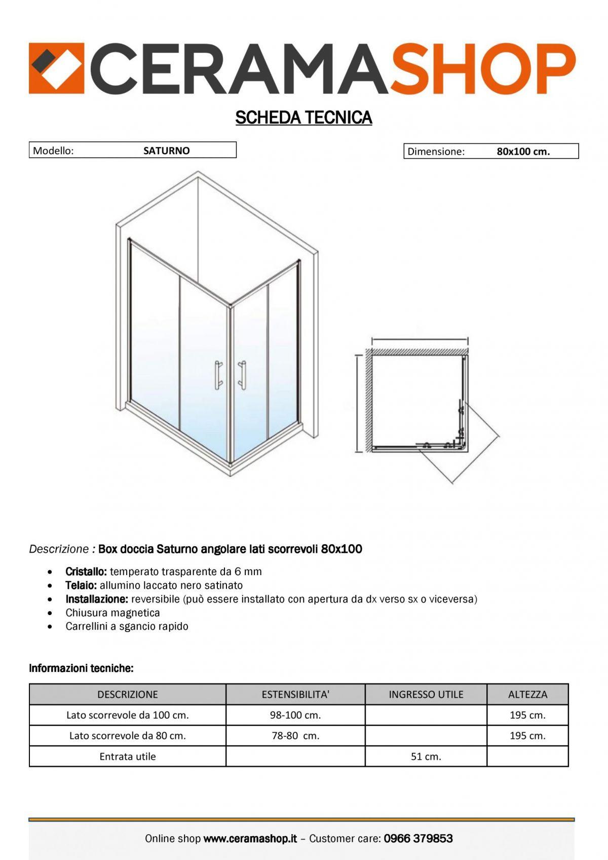 """80x100 nero 0001 scaled Box doccia rettangolare """"Saturno"""" 80×100 cm scorrevole cristallo trasparente 6 mm e profili neri"""