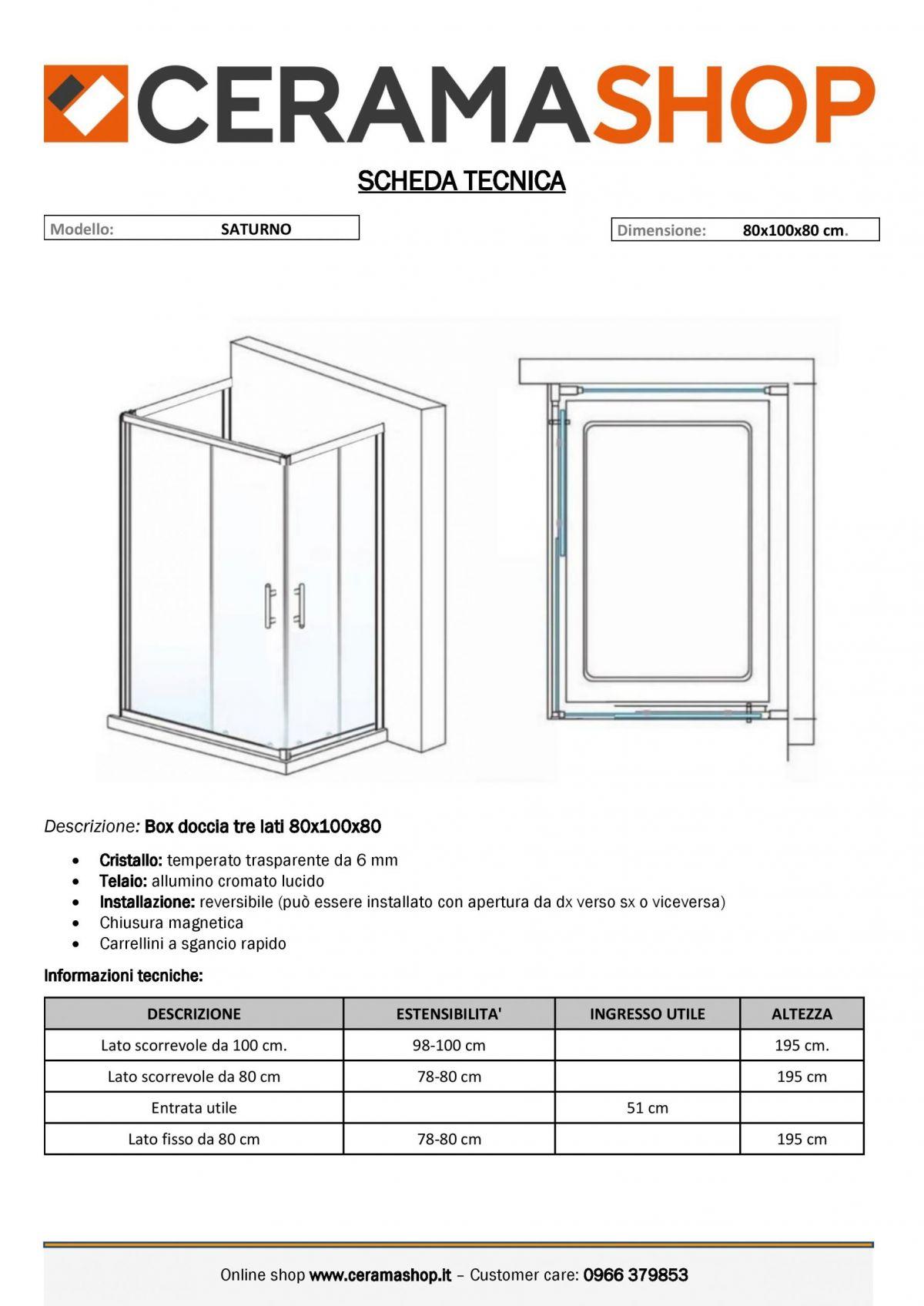 """80x100x80 0001 scaled Box doccia tre lati """"Saturno"""" 80x100x80 cm scorrevole cristallo trasparente 6 mm"""