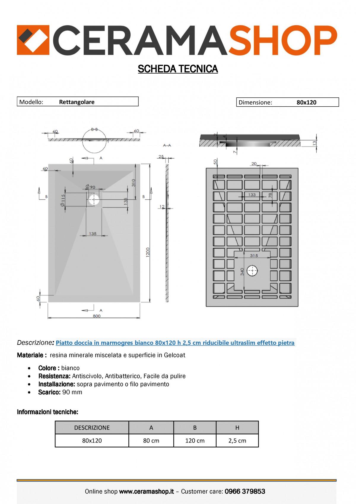 """80x120bianco 0001 2 scaled Piatto doccia rettangolare """"Dolomia"""" in marmogres bianco 80×120 h 2,5 cm riducibile ultraslim effetto pietra"""