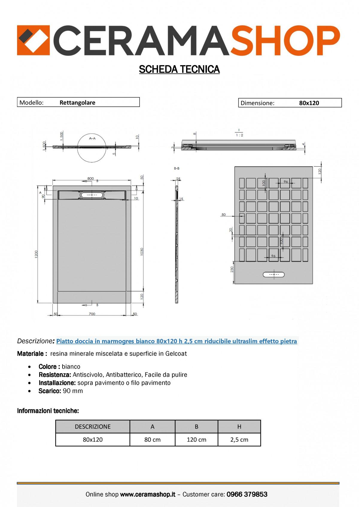"""80x120biancoj 0001 1 scaled Piatto doccia rettangolare """"Topazio"""" in marmogres bianco 80×120 h 3 cm riducibile ultraslim effetto pietra"""