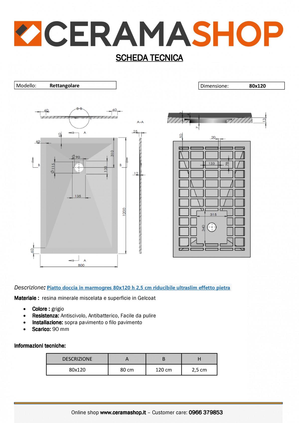 """80x120grigiof 0001 1 scaled Piatto doccia rettangolare """"Dolomia"""" in marmogres grigio 80×120 h 2,5 cm riducibile ultraslim effetto pietra"""