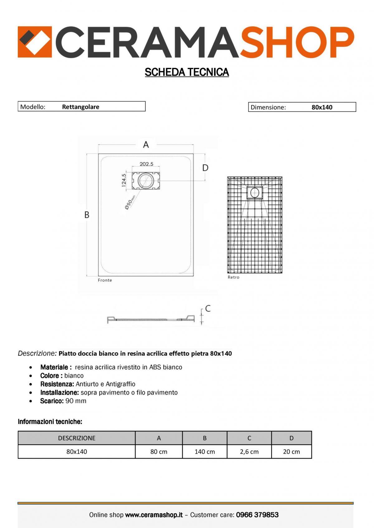 80x140bianco 0001 scaled Piatto doccia rettangolare