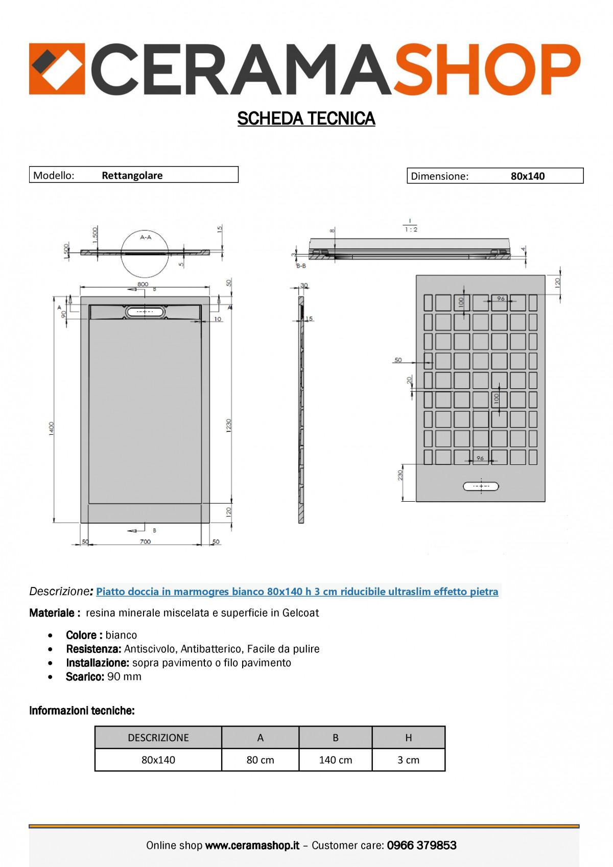 """80x140biancoj 0001 1 scaled Piatto doccia rettangolare """"Topazio"""" in marmogres bianco 80×140 h 3 cm riducibile ultraslim effetto pietra"""