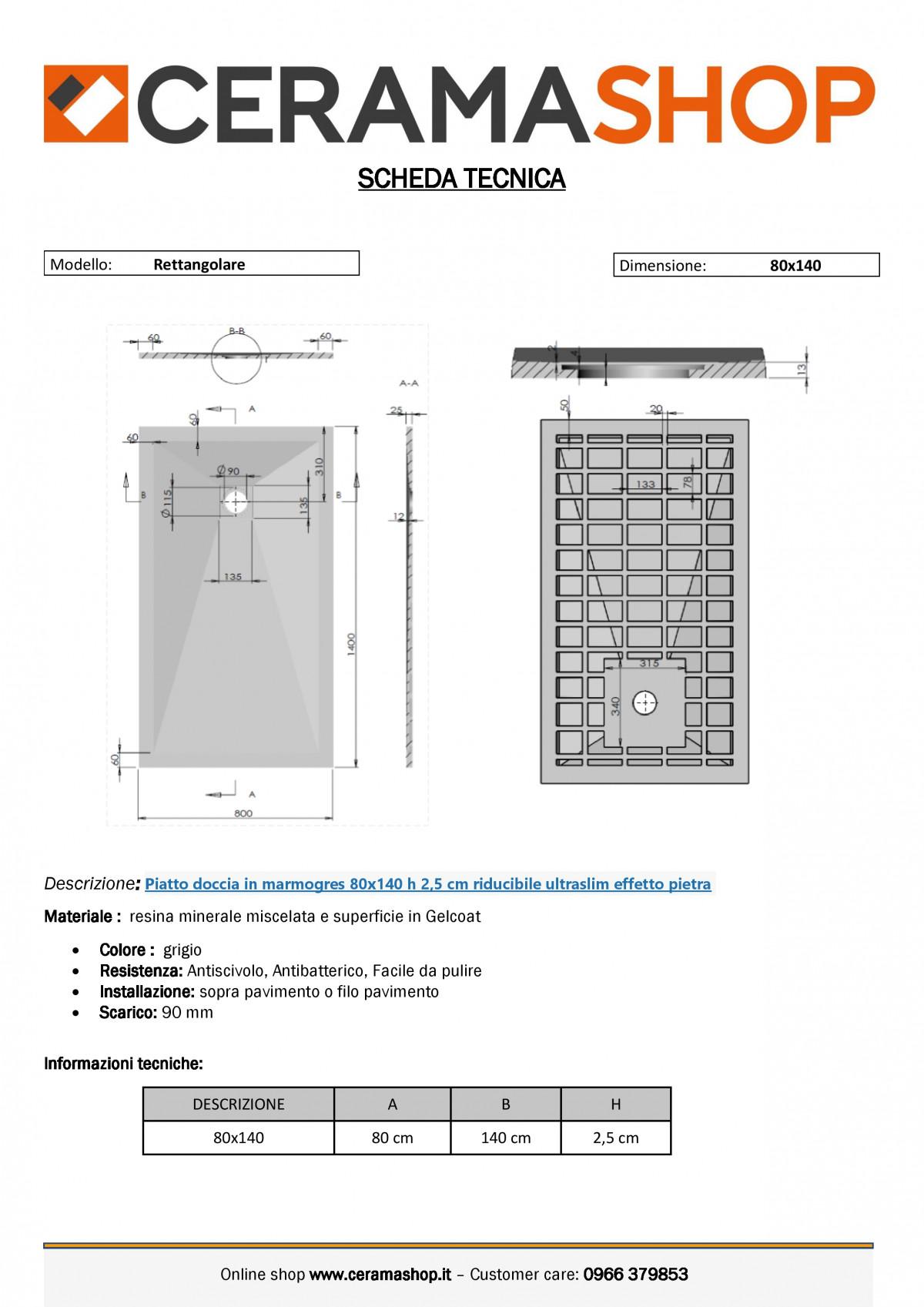 """80x140grigiof 0001 1 scaled Piatto doccia rettangolare """"Dolomia"""" in marmogres grigio 80×140 h 2,5 cm riducibile ultraslim effetto pietra"""