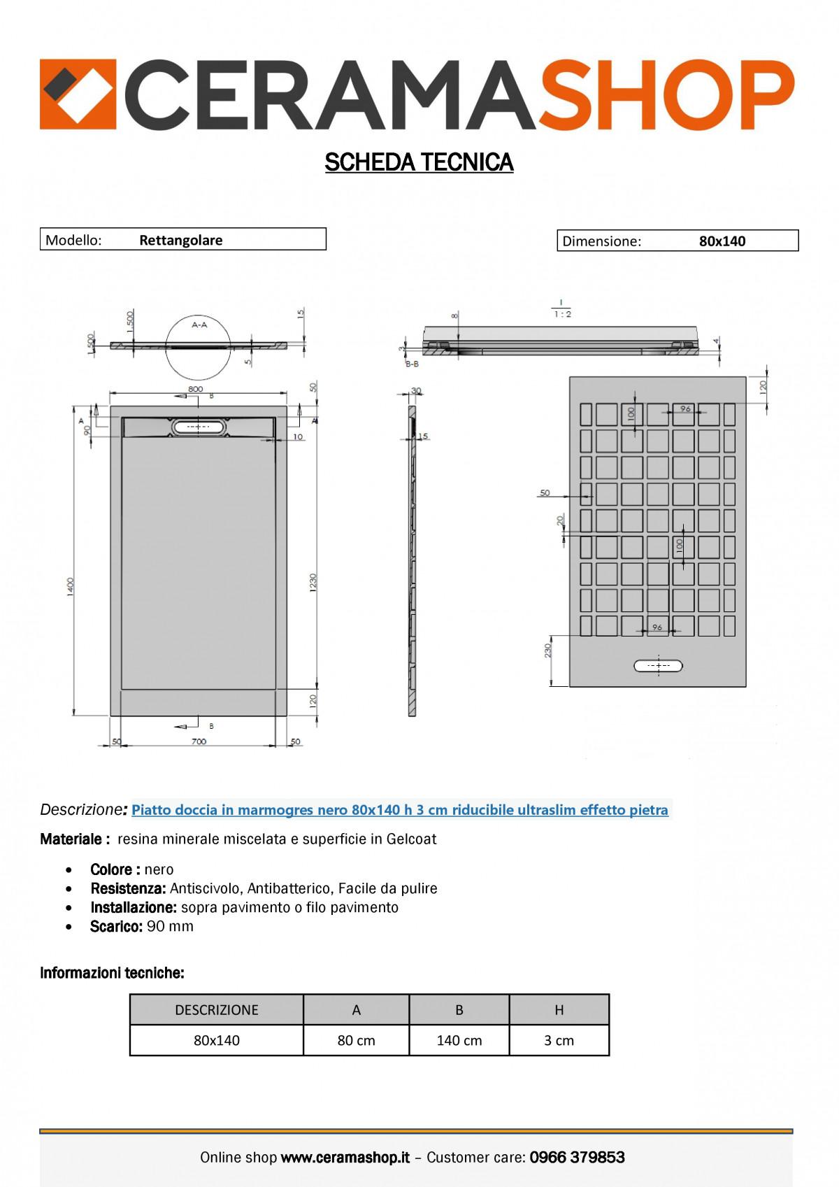 """80x140neroj 0001 scaled Piatto doccia rettangolare """"Topazio"""" in marmogres nero 80×140 h 3 cm riducibile ultraslim effetto pietra"""