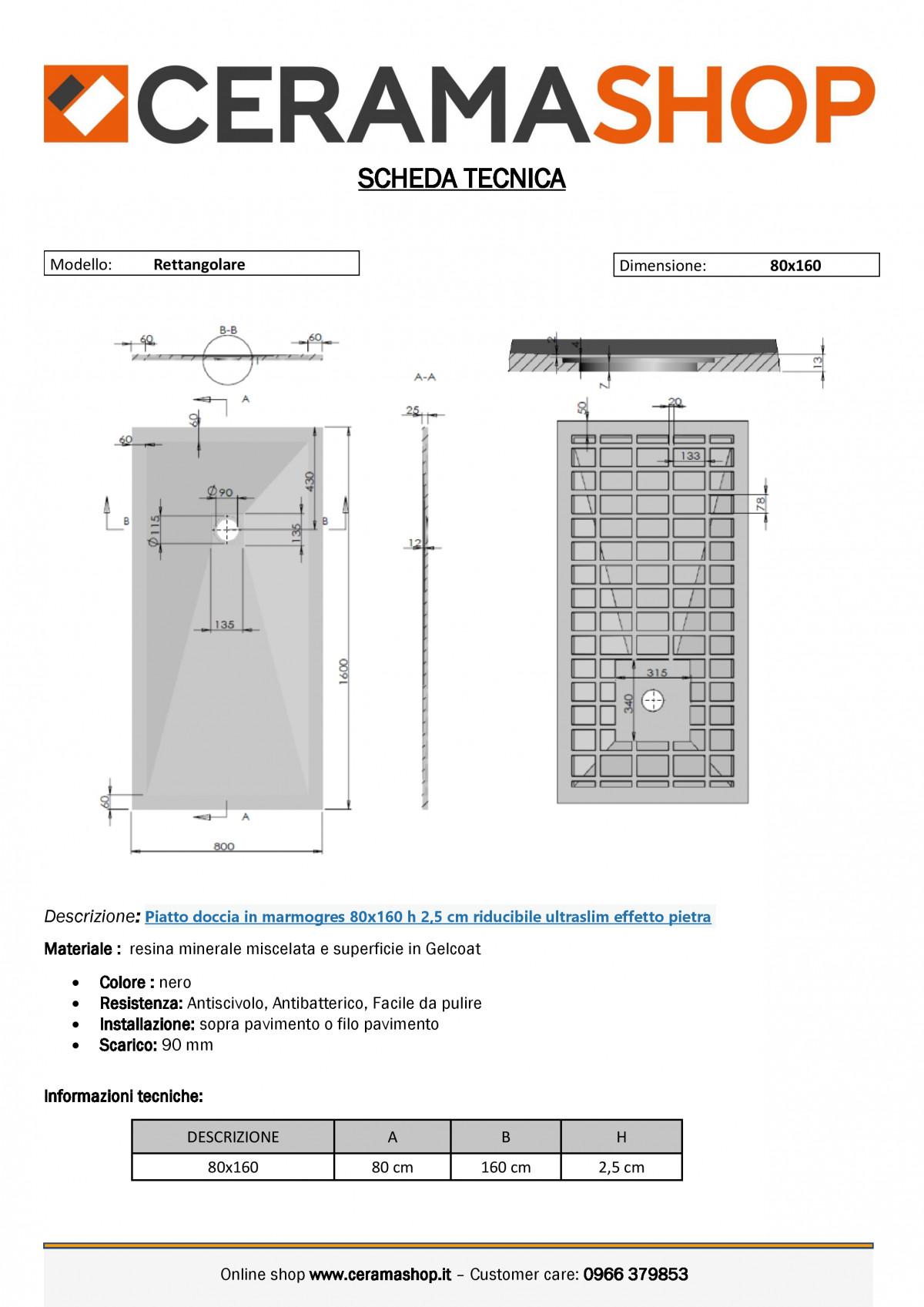 """80x160 nerof 0001 1 scaled Piatto doccia rettangolare """"Dolomia"""" in marmogres nero 80×160 h 2,5 cm riducibile ultraslim effetto pietra"""