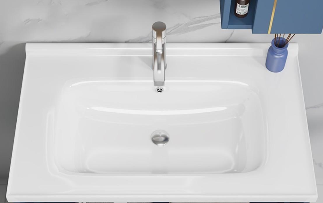 AMMAN 2 Mobile bagno Amman sospeso da 80 cm blu indaco con lavabo specchio e pensile