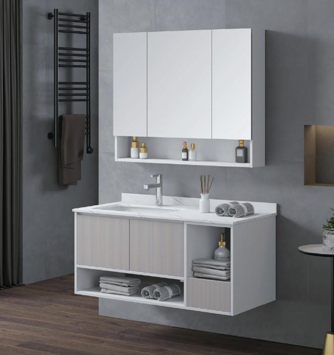 D 6922 1 Mobile bagno Astana sospeso da 100 cm olmo bianco e bianco opaco con lavabo e specchio contenitore