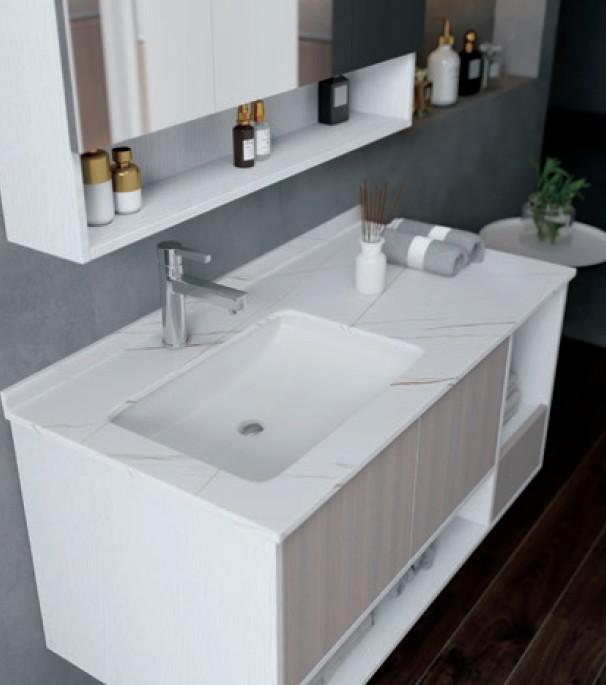 D 6922 2 Mobile bagno Astana sospeso da 100 cm olmo bianco e bianco opaco con lavabo e specchio contenitore