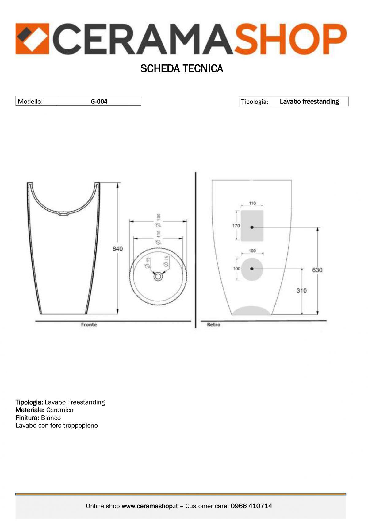 G 004 scaled Lavabo freestanding cod G-004 in ceramica di forma rettangolare col bianco lucido