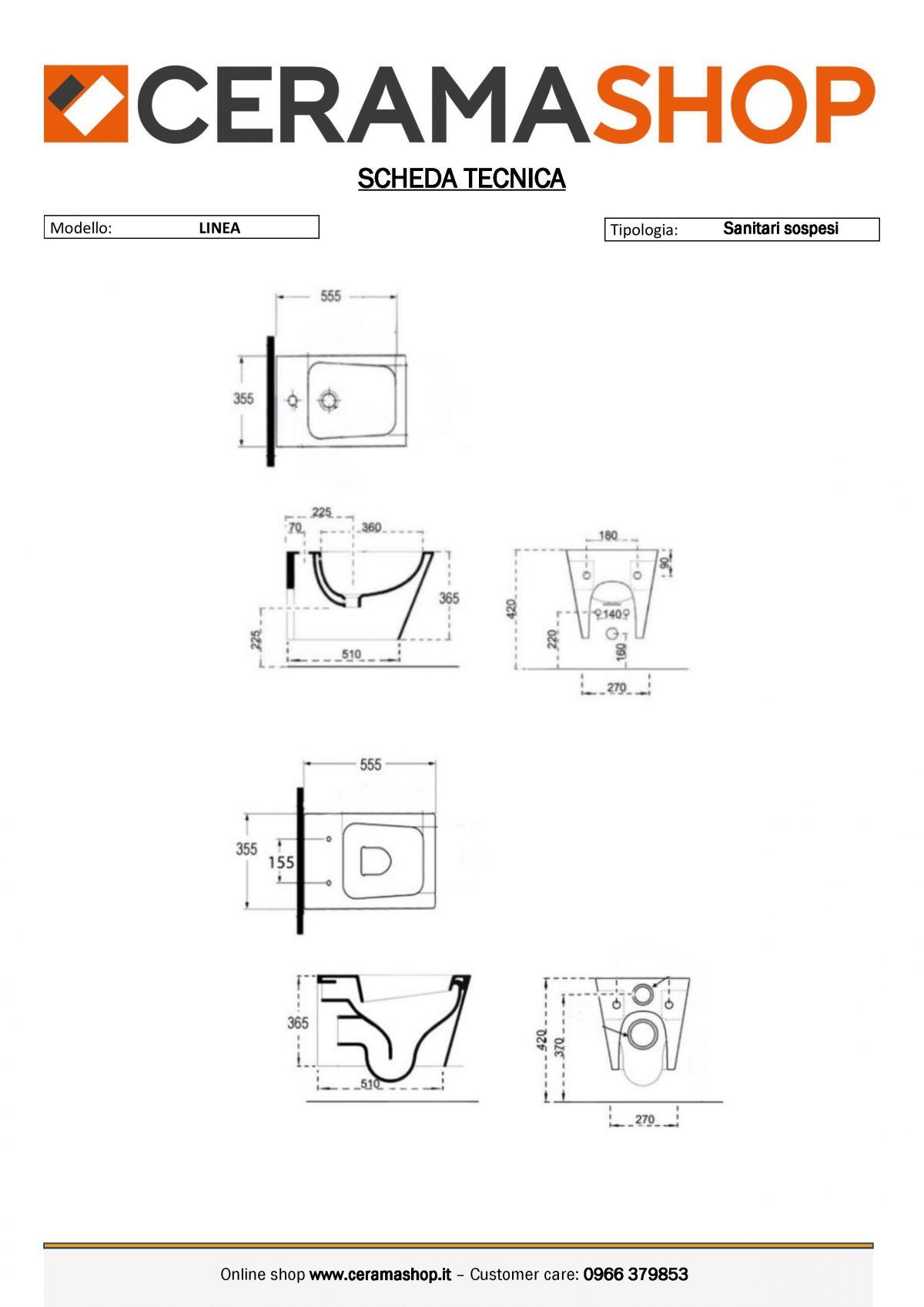 LINEA SOSPESI 0001 scaled Sanitari filo muro Linea in ceramica Vaso+Bidet+Coprivaso Soft Close