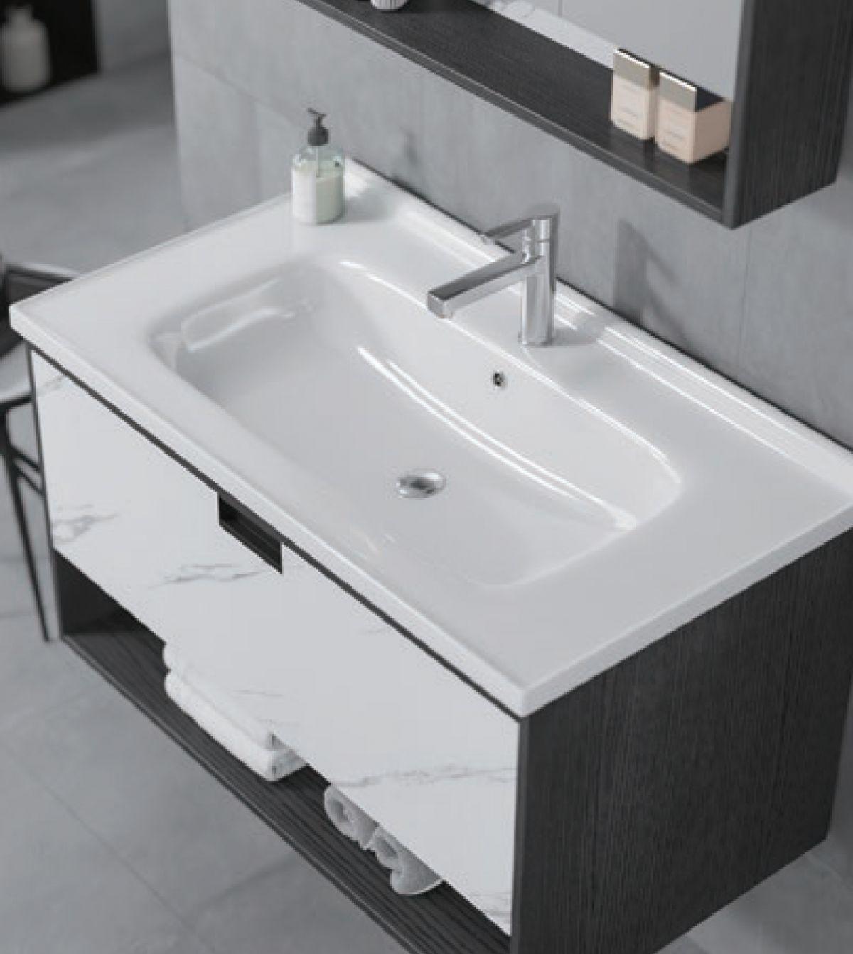 Mobile Bagno lisbona2 Mobile bagno Lisbona sospeso da 80 cm grigio effetto legno e bianco effetto marmo con lavabo specchio contenitore