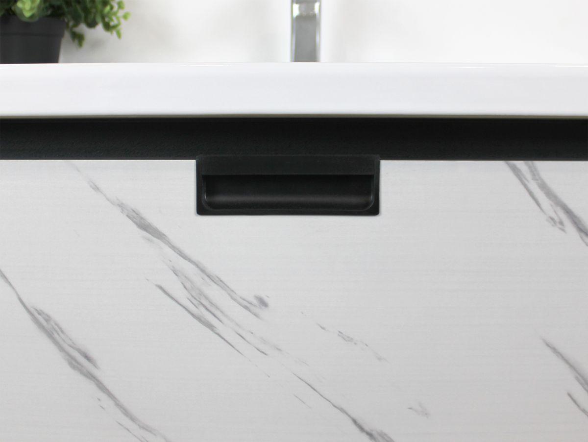 Mobile Bagno lisbona3 Mobile bagno Lisbona sospeso da 80 cm grigio effetto legno e bianco effetto marmo con lavabo specchio contenitore