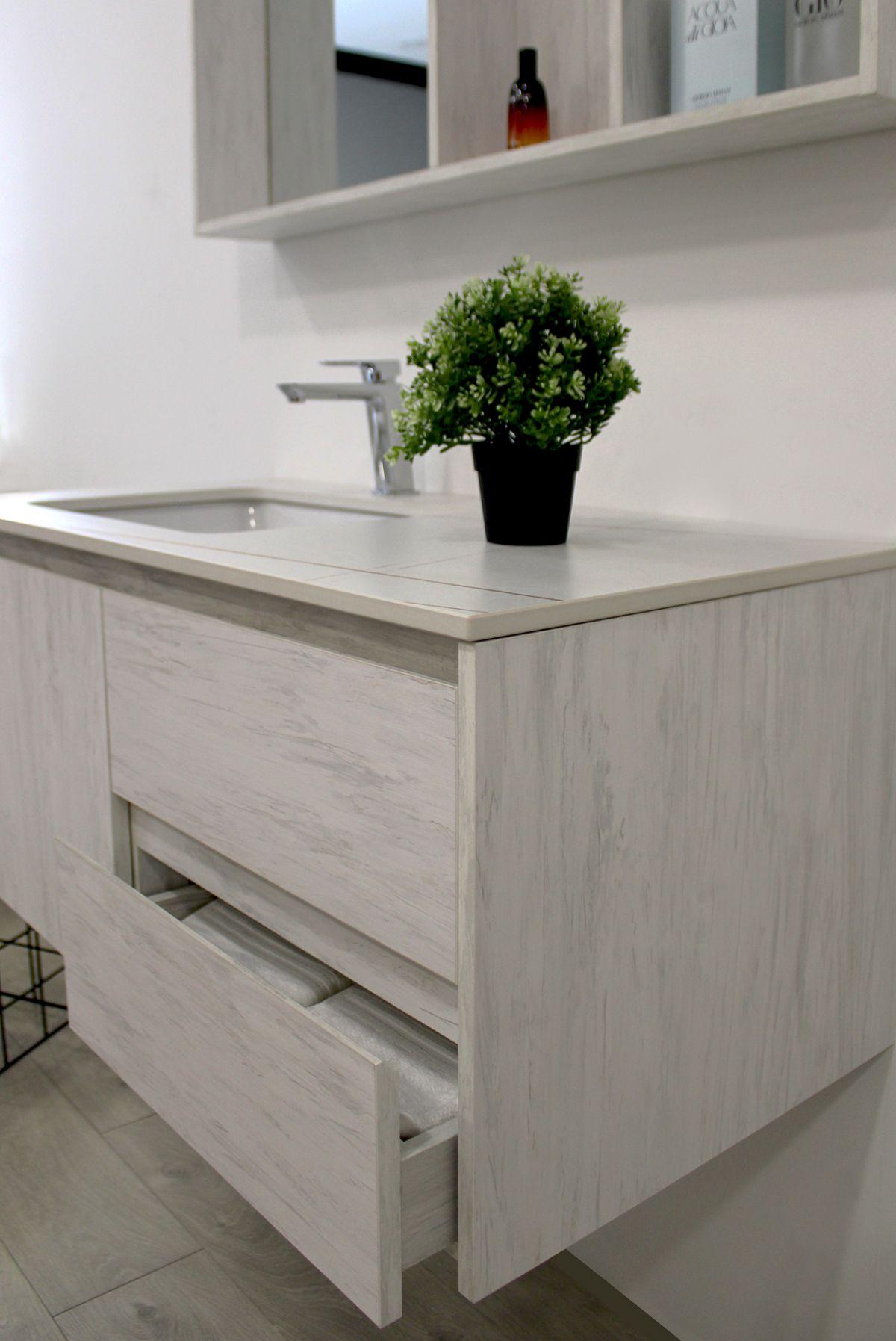 Mobile Bagno sofia laterale Mobile bagno Sofia sospeso da 100 cm grigio effetto legno con lavabo specchio e modulo a giorno