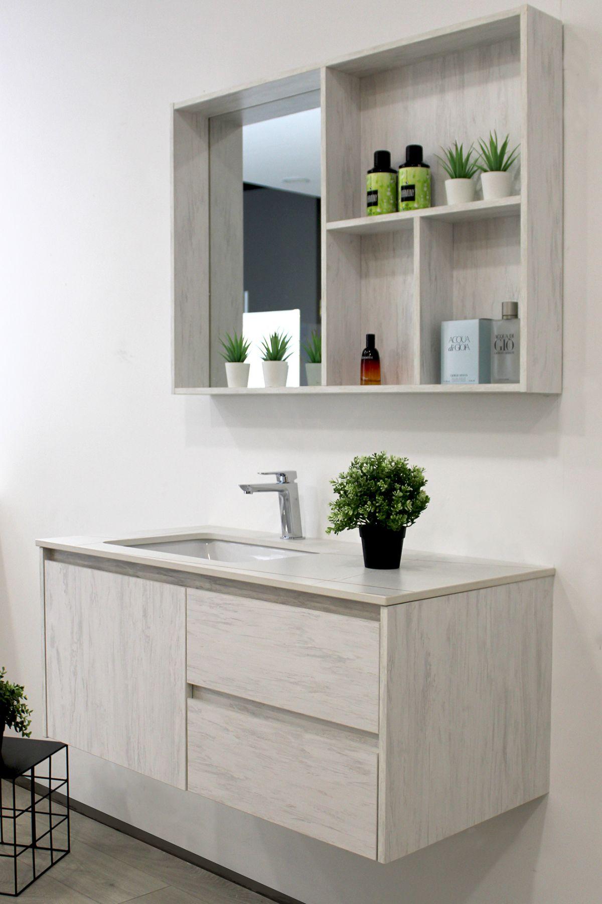 Mobile Bagno sofia laterale2 Mobile bagno Sofia sospeso da 100 cm grigio effetto legno con lavabo specchio e modulo a giorno