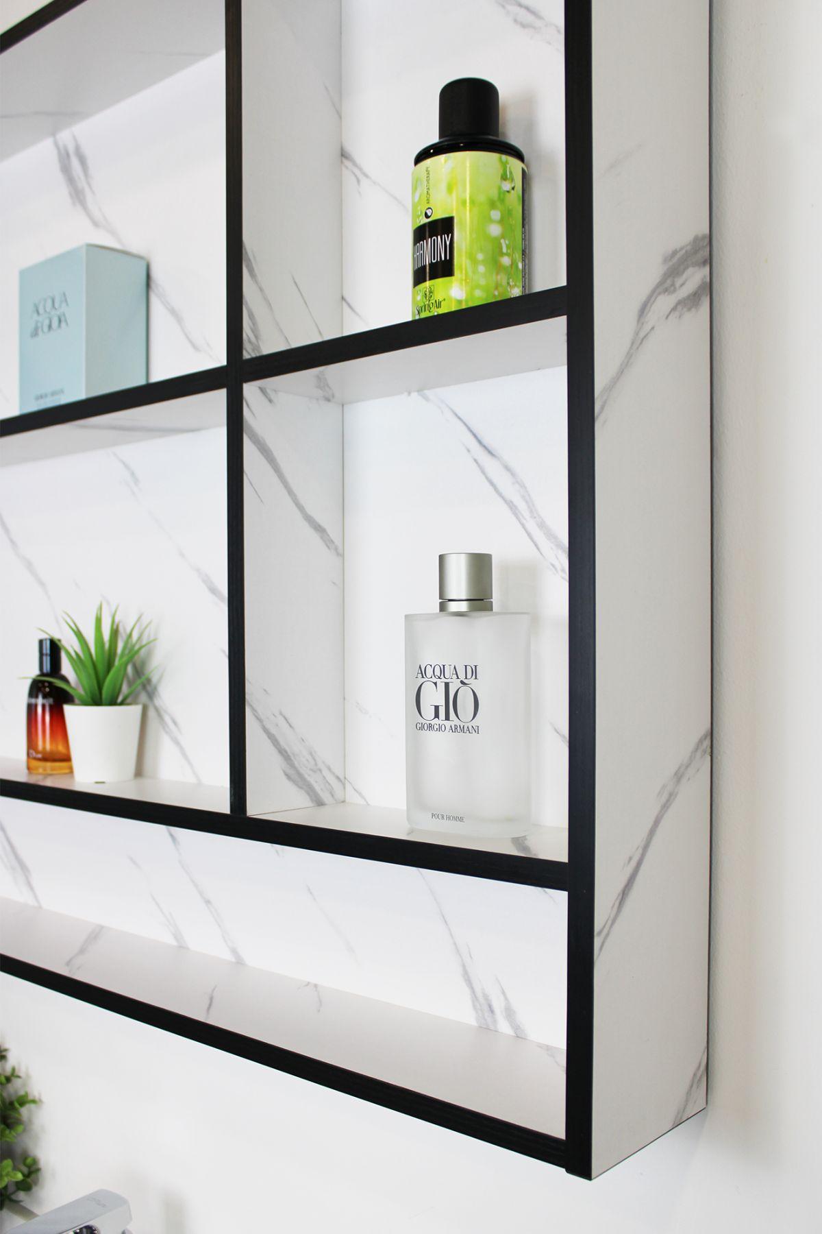 Mobile Bagno sospeso Perugia 2 Mobile bagno Madrid sospeso da 80 cm bianco effetto marmo con lavabo sottopiano specchio e moduli a giorno