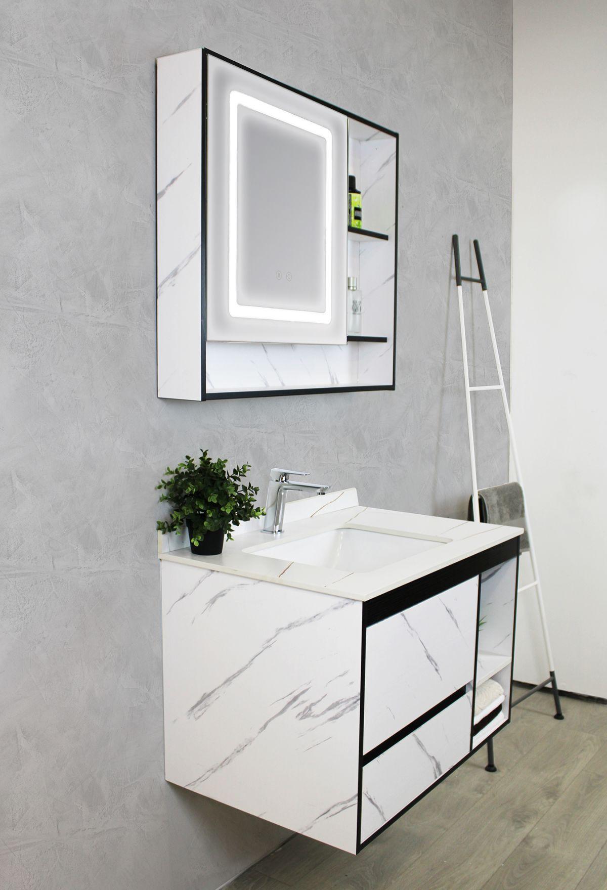 Mobile Bagno sospeso Perugia 4 Mobile bagno Madrid sospeso da 80 cm bianco effetto marmo con lavabo sottopiano specchio e moduli a giorno