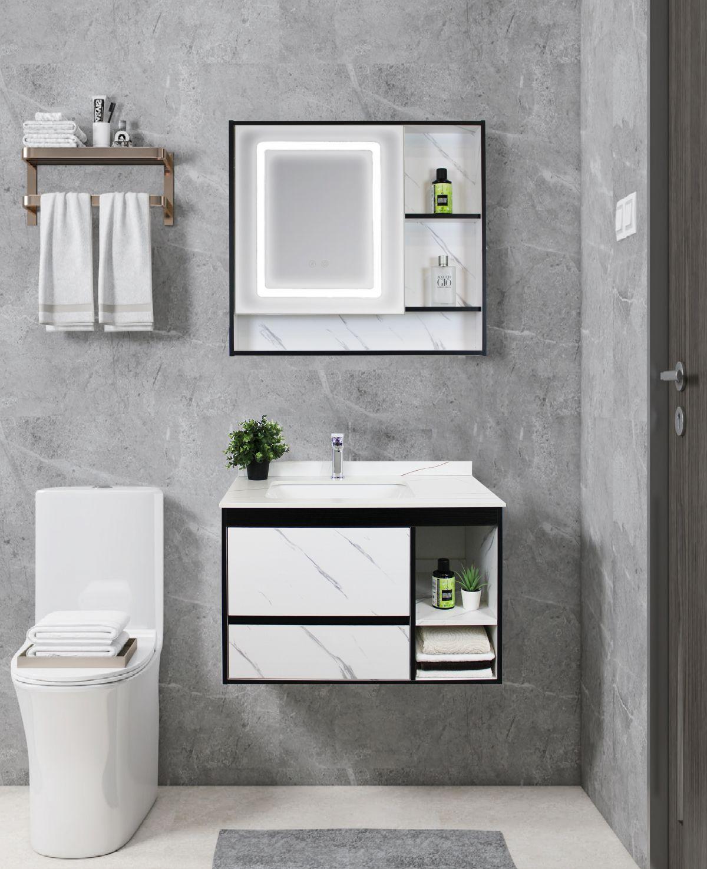Mobile Bagno sospeso Perugia frontale scaled Mobile bagno Madrid sospeso da 80 cm bianco effetto marmo con lavabo sottopiano specchio e moduli a giorno