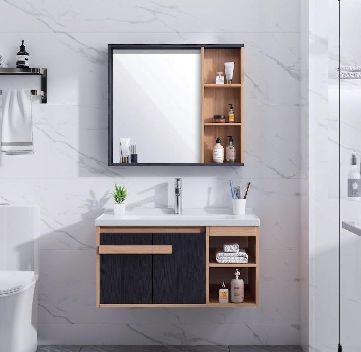 OSLO1 Mobile bagno Oslo sospeso da 80 cm rovere effetto legno e nero effetto legno con lavabo specchio e modulo a giorno