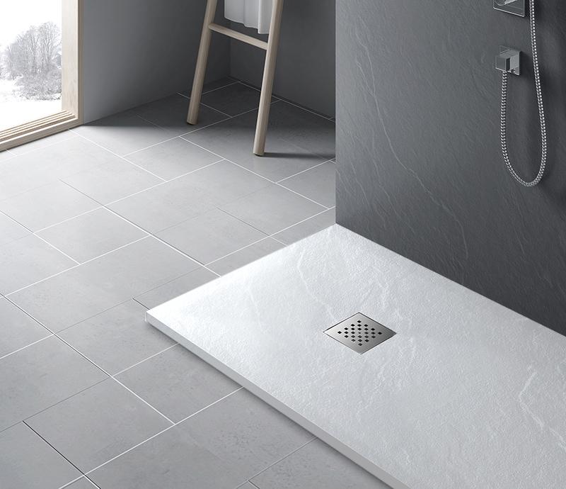 """Piatto doccia Bianco Piatto doccia rettangolare """"Dolomia"""" in marmogres bianco 80×160 h 2,5 cm riducibile ultraslim effetto pietra"""
