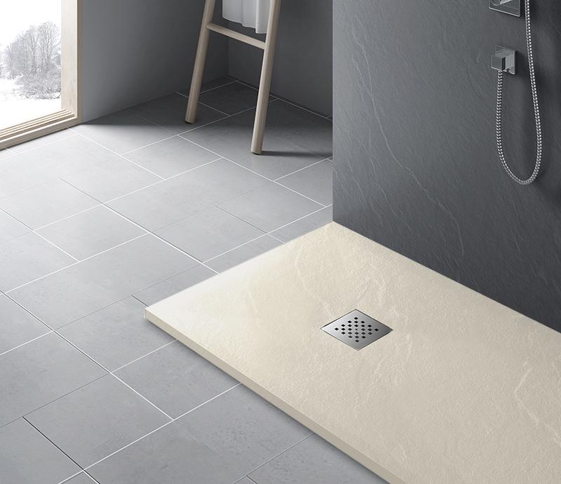"""Piatto doccia ColorRal 1013 beige Piatto doccia rettangolare """"Dolomia"""" in marmogres beige 80×140 h 2,5 cm riducibile ultraslim effetto pietra"""