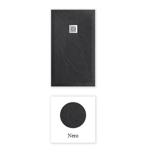 """Piatto doccia ColorRal 9005 nero Piatto doccia rettangolare """"Dolomia"""" in marmogres nero 80×160 h 2,5 cm riducibile ultraslim effetto pietra"""