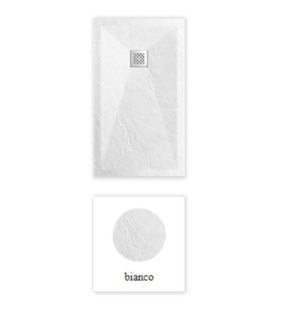 """Piatto doccia ColorRal Bianco Piatto doccia rettangolare """"Dolomia"""" in marmogres bianco 80×160 h 2,5 cm riducibile ultraslim effetto pietra"""