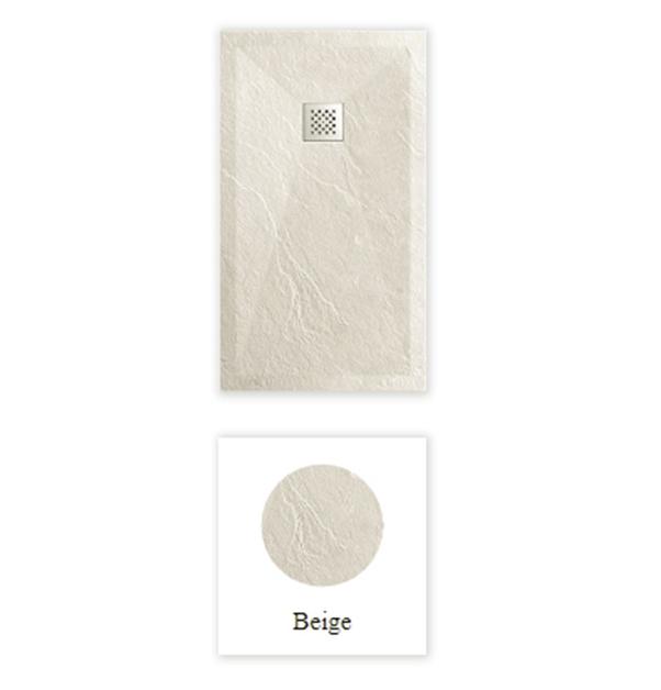 """Piatto doccia ColorRal Beige Piatto doccia rettangolare """"Dolomia"""" in marmogres beige 80×140 h 2,5 cm riducibile ultraslim effetto pietra"""