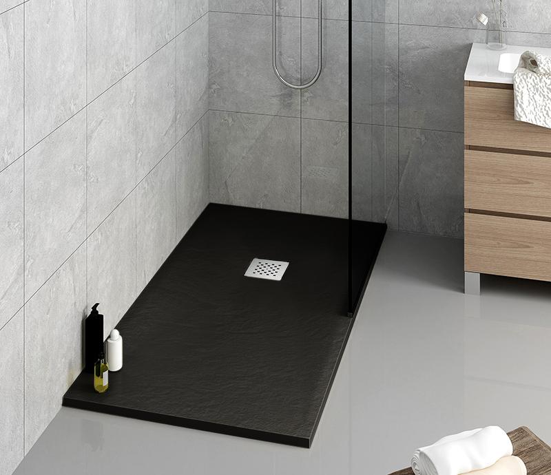 """Piatto doccia DarkGrey Piatto doccia rettangolare """"Dolomia"""" in marmogres nero 80×160 h 2,5 cm riducibile ultraslim effetto pietra"""