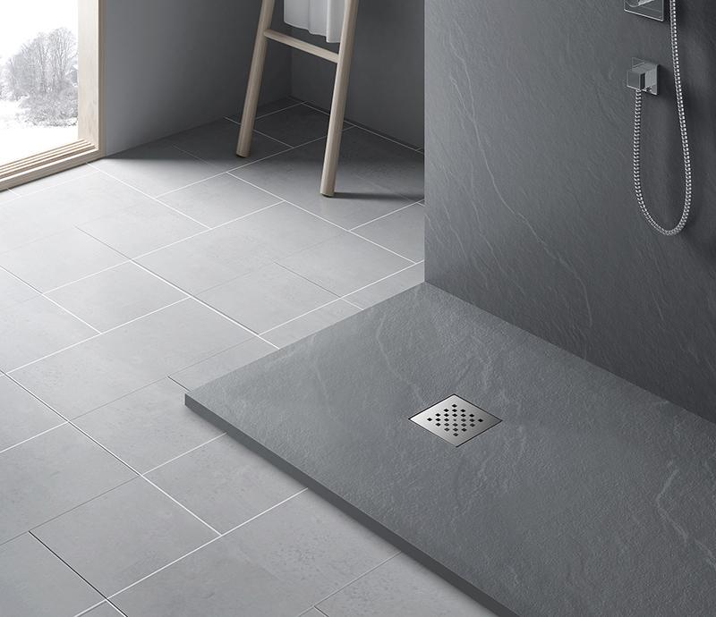 """Piatto doccia GREY Piatto doccia rettangolare """"Dolomia"""" in marmogres grigio 80×120 h 2,5 cm riducibile ultraslim effetto pietra"""