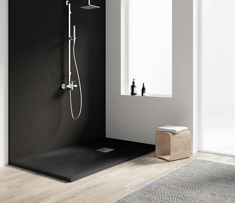 """Piatto doccia NERO Piatto doccia rettangolare """"Dolomia"""" in marmogres nero 80×160 h 2,5 cm riducibile ultraslim effetto pietra"""
