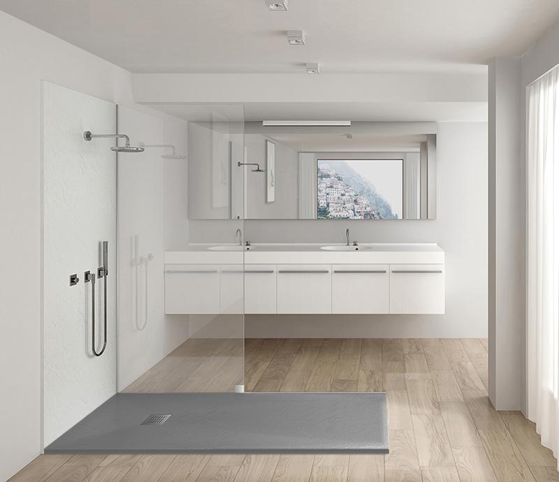 """Piatto doccia 3 grey Piatto doccia rettangolare """"Dolomia"""" in marmogres grigio 80×120 h 2,5 cm riducibile ultraslim effetto pietra"""