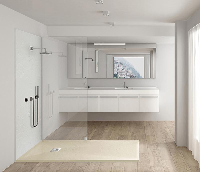 """Piatto doccia beige Piatto doccia rettangolare """"Dolomia"""" in marmogres beige 80×140 h 2,5 cm riducibile ultraslim effetto pietra"""