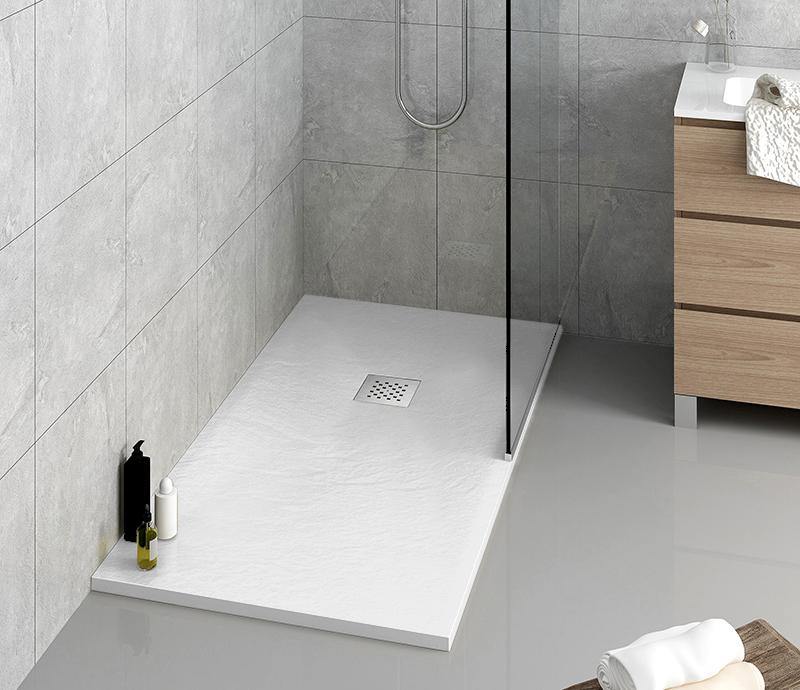 """Piatto doccia bianco ral Piatto doccia rettangolare """"Dolomia"""" in marmogres bianco 80×160 h 2,5 cm riducibile ultraslim effetto pietra"""