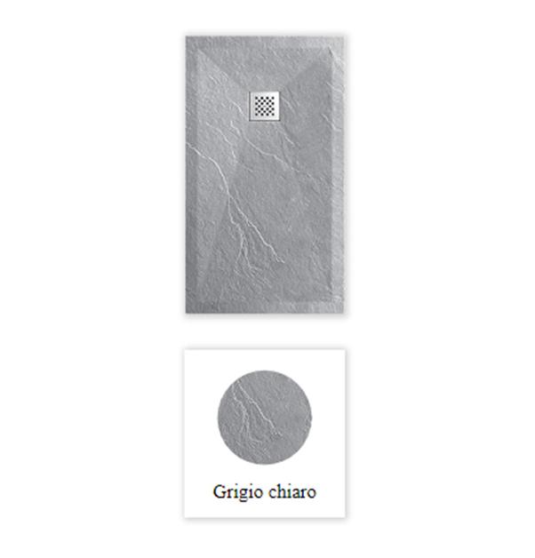 """Piatto doccia grigio COLORE 7046 Piatto doccia rettangolare """"Dolomia"""" in marmogres grigio 80×120 h 2,5 cm riducibile ultraslim effetto pietra"""