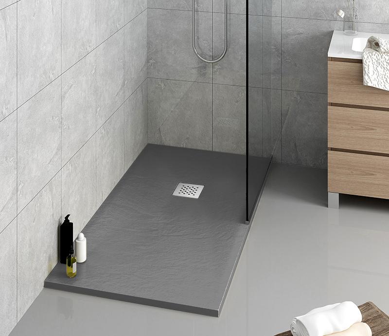 """Piatto doccia grigio Piatto doccia rettangolare """"Dolomia"""" in marmogres grigio 80×120 h 2,5 cm riducibile ultraslim effetto pietra"""