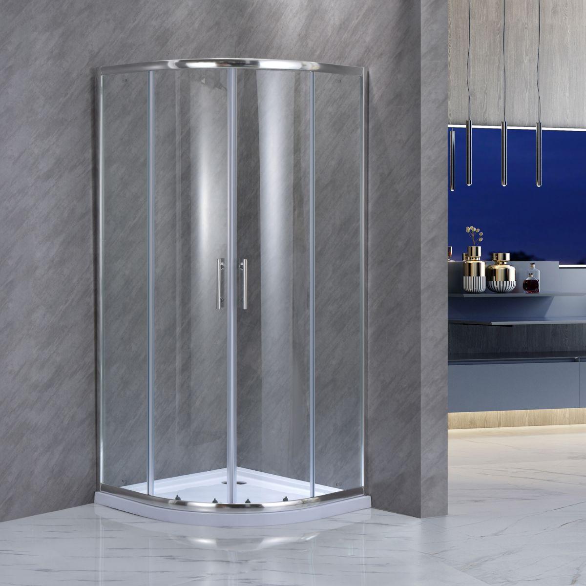 """SE 101 1 Box doccia semicircolare """"Saturno"""" 80×80 cm scorrevole cristallo trasparente 6 mm"""
