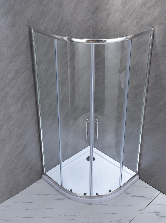 """SE 101 3 Box doccia semicircolare """"Saturno"""" 80×80 cm scorrevole cristallo trasparente 6 mm"""
