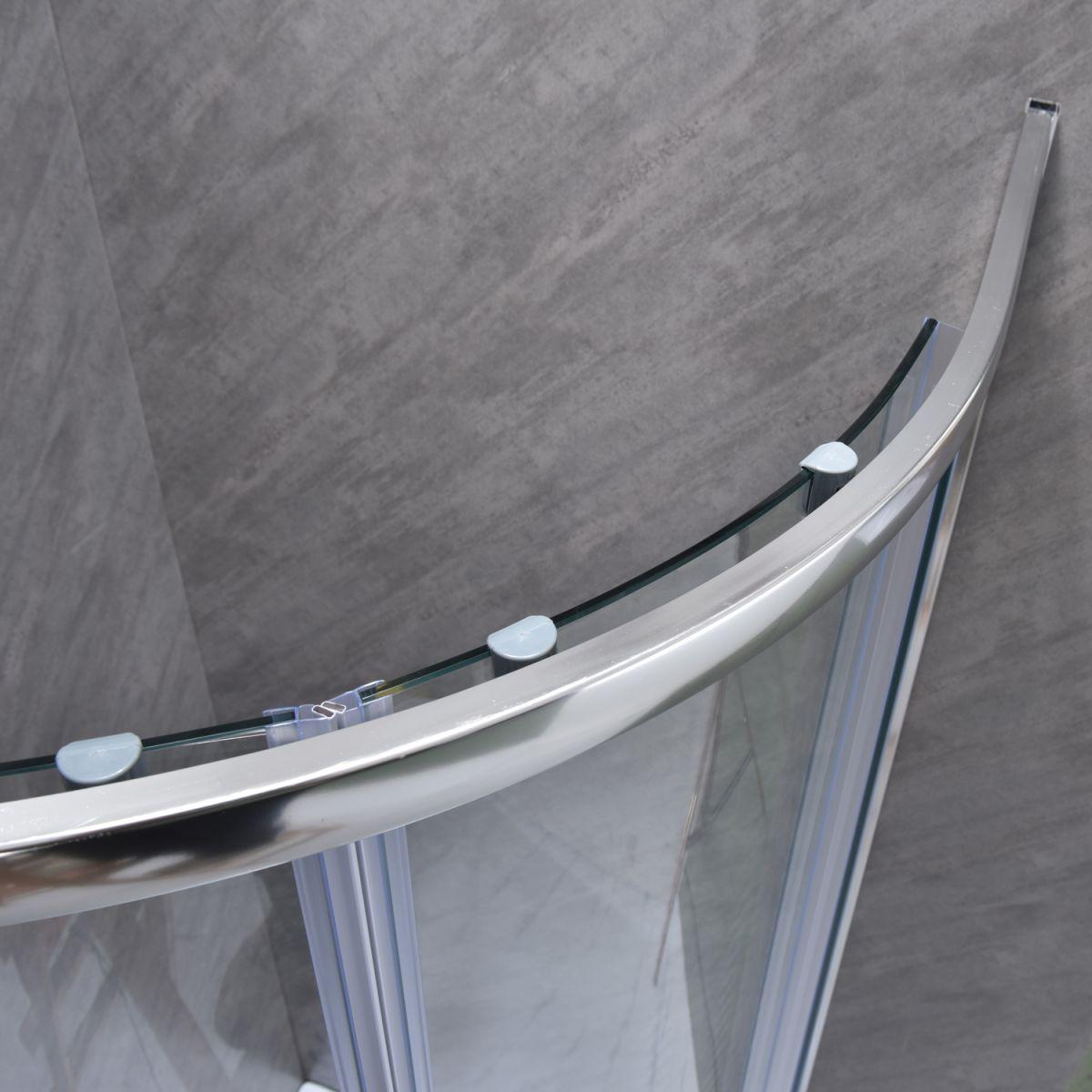 """SE 101 4 Box doccia semicircolare """"Saturno"""" 80×80 cm scorrevole cristallo trasparente 6 mm"""