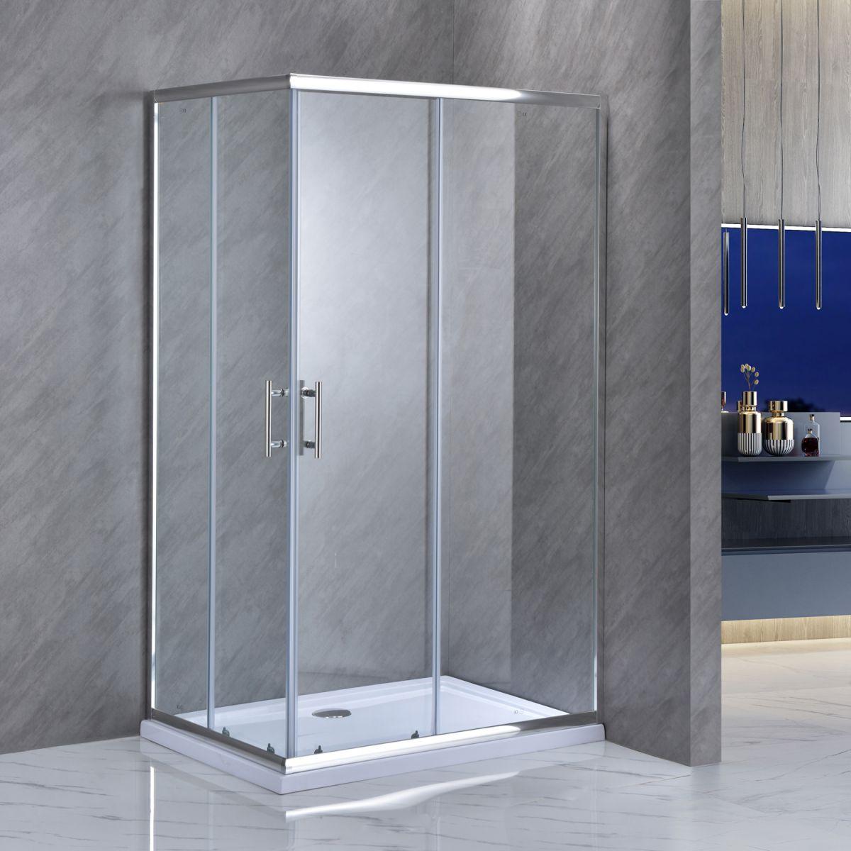 """SE 111 1 Box doccia rettangolare """"Saturno"""" 70×90 cm scorrevole cristallo trasparente 6 mm"""