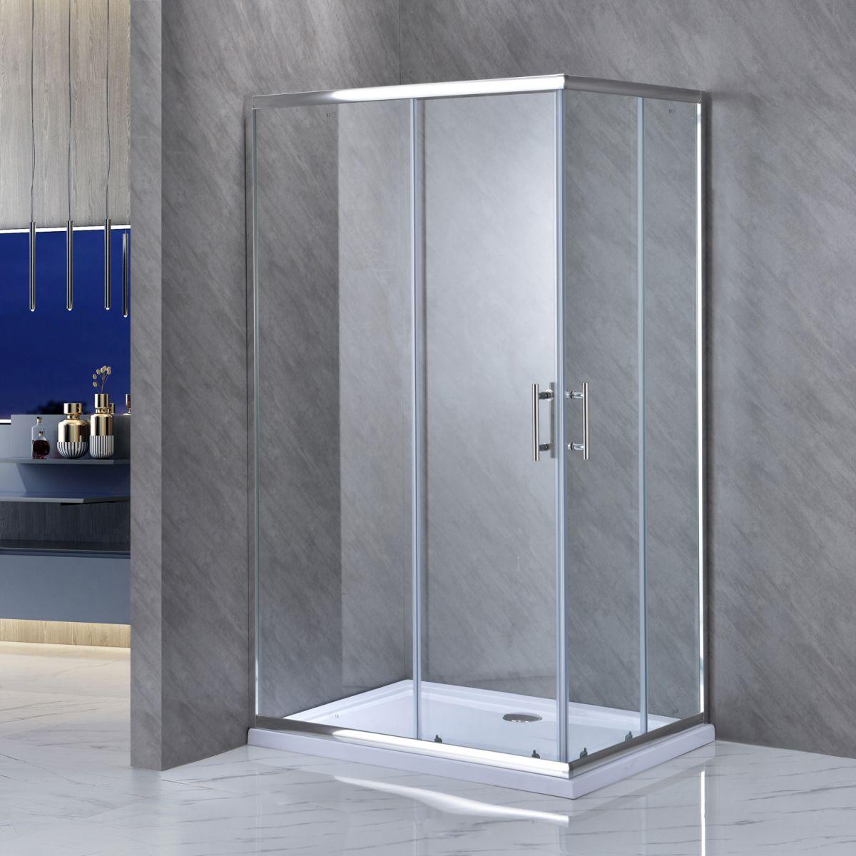 """SE 111 1 LEFT Box doccia rettangolare """"Saturno"""" 70×90 cm scorrevole cristallo trasparente 6 mm"""